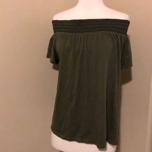 Old Navy Women's Off Shoulder Olive Green Top Sz L